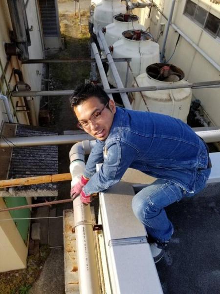 和泉市K工場様 外部排水管漏水修理